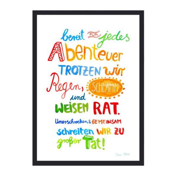 Frau Ottilie Print Abenteuer