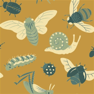 Birch Fabrics - Acorn Trail - Bugs Gold