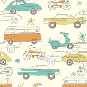 Birch Fabrics - Circa 52 - Cars Cream