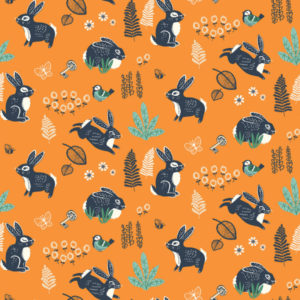 Birch Fabrics - Hidden Garden - Bunny Hop Orange