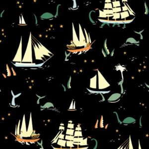 Birch Fabrics - Saltwater - Here be monsters black
