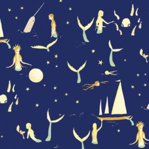 Birch Fabrics - Saltwater - mermaids night