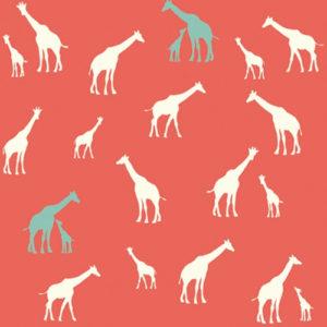 Birch Fabrics - Serengeti - Giraffe Fam Coral