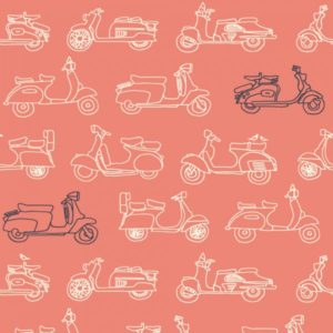 Birch Fabrics - Transpacific - Mopeds Coral