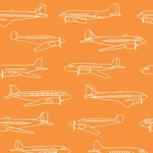 Birch Fabrics - Transpacific - Planes Orange