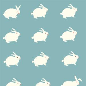 Birch Fabrics - Wonderland - White Rabbit Aqua BW