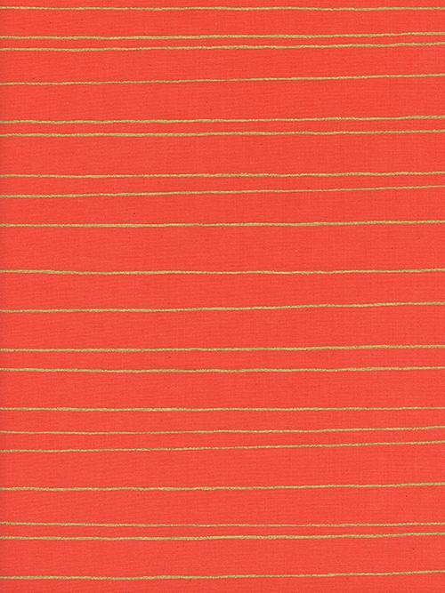 Cotton&Steel Noel - Gold Stripe Red