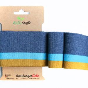 Albstoffe - Cuff Me College Strickbündchen blau meliert/ hellblau/ senfgelb