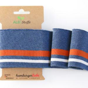 Albstoffe - Cuff Me College Strickbündchen blau meliert/orange/ weiß
