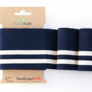 Albstoffe - Cuff Me College Strickbündchen dunkelblau/ weiß