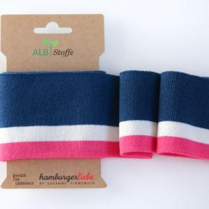 Albstoffe - Cuff Me College Strickbündchen dunkelblau/ weiß/ pink