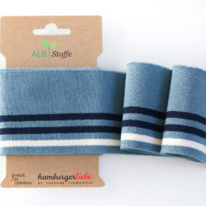 Albstoffe - Cuff Me College Strickbündchen hellblau/ dunkelblau/ weiß