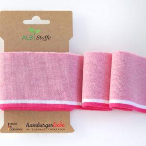 Albstoffe - Cuff Me College Strickbündchen rosa/ weiß/ pink