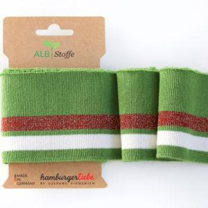 Albstoffe - Cuff Me Glam Strickbündchen grün/ braun/ weiß