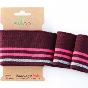 Albstoffe - Cuff Me Glam Strickbündchen weinrot/ pink/ silber