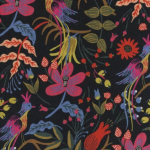 Cotton&Steel - Les Fleurs - Folk Birds Black (C)