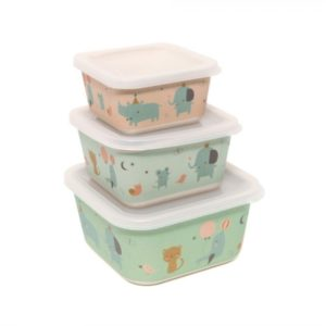 petitmonkey - Bamboo Storage Box Rhino & Friends (rosa)