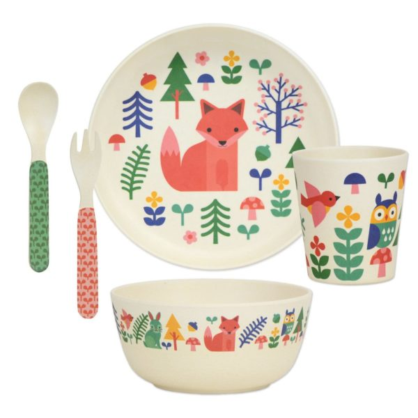 petit collage - Bamboo Dinnerware Set (waldtiere)