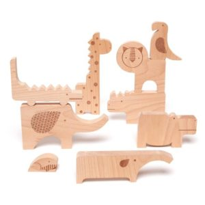 petit collage - Wooden Puzzle + Play Safari Jumble