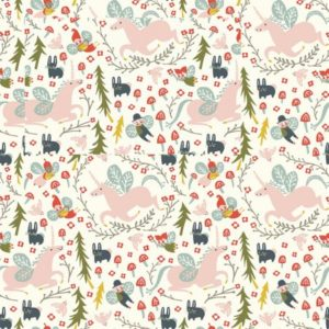 Birch Fabrics - Folkland - Enchanted Unicorns in Cream