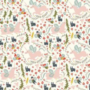 Birch Fabrics - Folkland - Enchanted Unicorns in Cream (J)
