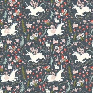 Birch Fabrics - Folkland - Enchanted Unicorns in Dusk