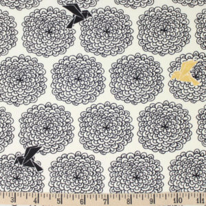 Birch Fabrics - Inkwell - Birds and Blossoms in Black Metallic