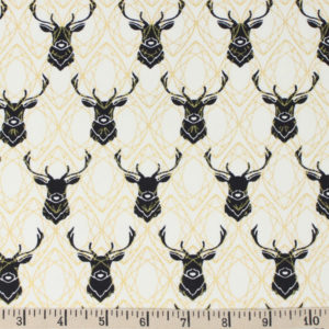 Birch Fabrics - Inkwell - Elk Diamonds in Black Metallic