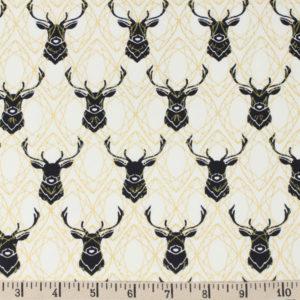 Birch Fabrics - Inkwell - Elk Diamonds in Black Metallic