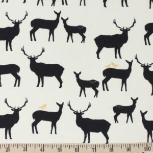 Birch Fabrics - Inkwell - Elk Fam in Black Metallic