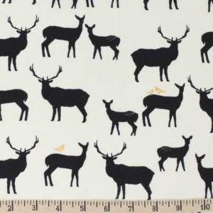 Birch Fabrics - Inkwell - Elk Fam in Black Metallic