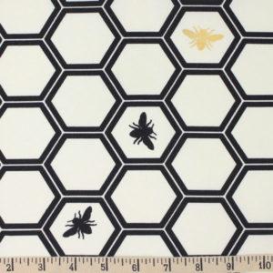 Birch Fabrics - Inkwell - Honeycomb in Black /Metallic