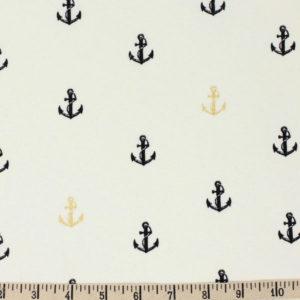 Birch Fabrics - Inkwell - Little Anchors in Black / Metallic