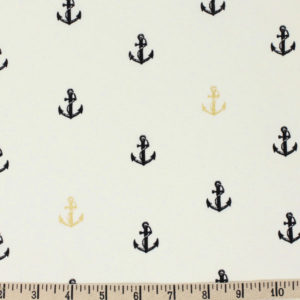 Birch Fabrics - Inkwell - Little Anchors in Black / Metallic