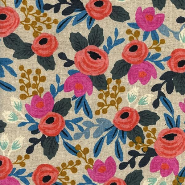 Cotton&Steel - Les Fleurs - Canvas Rosa Floral Natural (C)