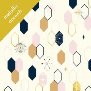 Birch Fabrics - Mod Nouveau - Oblong Hex in Blush