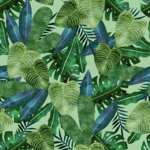 3 wishes fabrics - Restful Sloths - Green Jungle Leaves