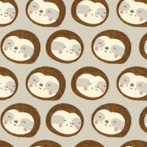 3 wishes fabrics - Restful Sloths - Sloth Faces