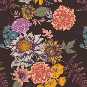 Art Gallery Fabrics - Autumn Vibes - Floral Glow Cocoa