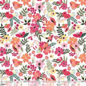 Blend Fabrics - Floral Pets - Gardenara White