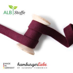 Alb Stoffe - Flachkordel GOTS - Albstoffe (bordeaux)