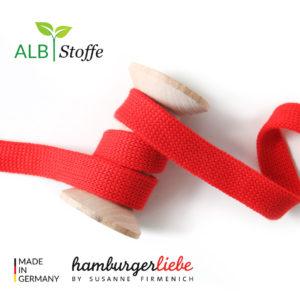 Alb Stoffe - Flachkordel GOTS - Albstoffe (flamme (rot))