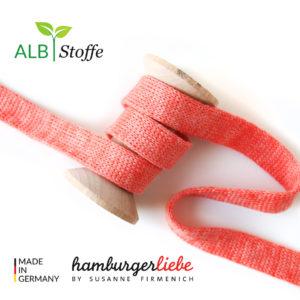 Alb Stoffe - Flachkordel GOTS - Albstoffe (luce rossa melange)
