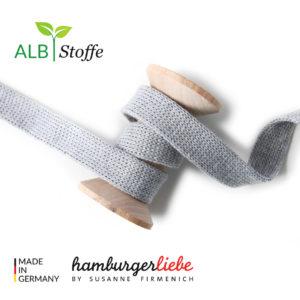 Alb Stoffe - Flachkordel GOTS - Albstoffe (mittelgrau)