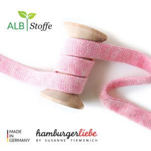 Alb Stoffe - Flachkordel GOTS - Albstoffe (rosa scuro melange)