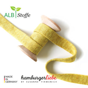 Alb Stoffe - Flachkordel GOTS - Albstoffe (senf melange)