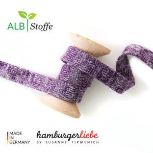 Alb Stoffe - Flachkordel GOTS - Albstoffe (viola melange)