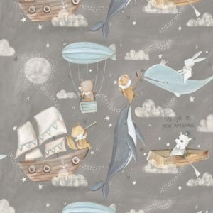 3 wishes fabrics - Adventures in the Sky - Flying Gray