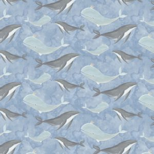 3 wishes fabrics - Adventures in the Sky - Swimming Blue